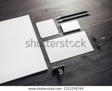 Stationery mock up on wooden background. Responsive design template. Branding identity mock up. #1312198769