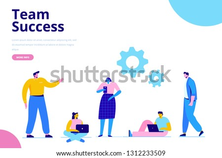 Business Team. Business people working  together. Discussion. Flat design illustration concept. #1312233509