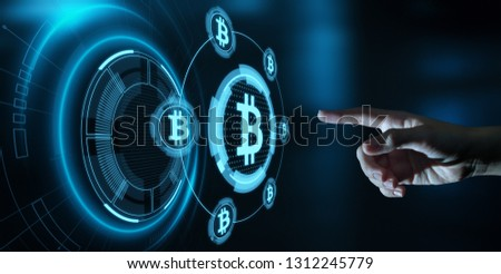 Bitcoin Cryptocurrency Digital Bit Coin BTC Currency Technology Business Internet Concept. #1312245779