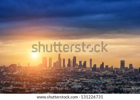 Sunrise over Los Angeles city skyline