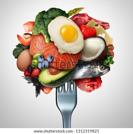 Eating ketogenic food and Keto nutrition lifestyle diet low carb and high fat meal as fish nuts eggs meat avocado and other healthy ingredients on a fork with 3D illustration elements.