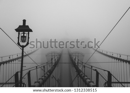 Foggy Brooklyn Bridge  #1312338515