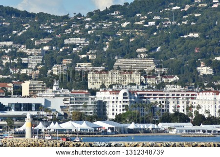 Beautiful Cannes city shore with densely built houses and estates. French riviera. #1312348739
