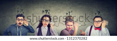 Group of funny looking people men and women having troubled communication #1312370282