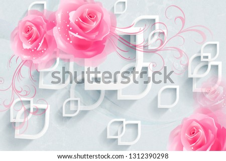 3d illustrations,Colorful Wall Decoration Pink Rose Wall Tile Designs. #1312390298