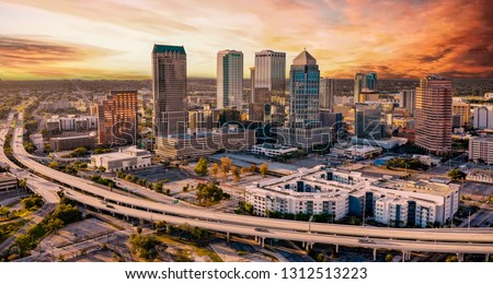 The architecture of the downtown area in the City of Tampa Florida Royalty-Free Stock Photo #1312513223