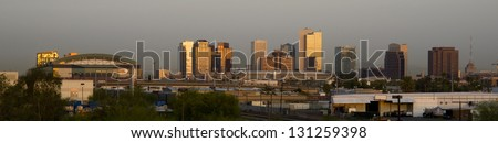 The Buildings and Landscape of Phoenix Arizona Downtown City Skyline Before The Sun Rises