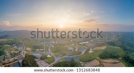 Aerial view windmill farm during morning time #1312683848