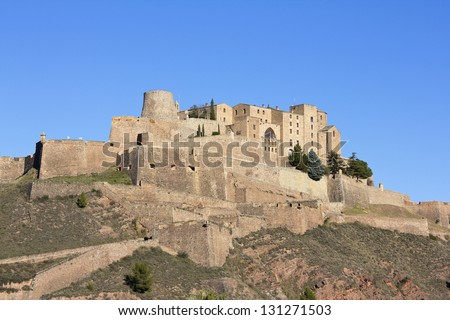 CARDONA, SPAIN - DECEMBER 8: View on Cardona Castle in Catalonia, Spain. One of the most important medieval fortess. This picture was taken from outside on December 8, 2012 in Cardona, Spain. #131271503