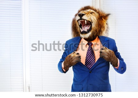 Predator angry boss concept man with lion head #1312730975