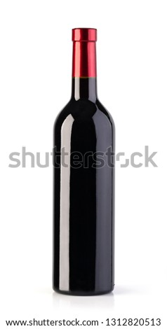 red wine bottle isolated over white background #1312820513