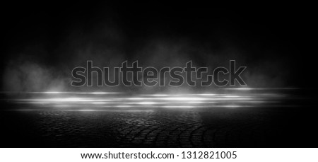 Wet asphalt, reflection of neon lights, a searchlight, smoke. Abstract light in a dark empty street with smoke, smog. Dark background scene of empty street, night view, night city. #1312821005