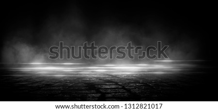 Wet asphalt, reflection of neon lights, a searchlight, smoke. Abstract light in a dark empty street with smoke, smog. Dark background scene of empty street, night view, night city. #1312821017