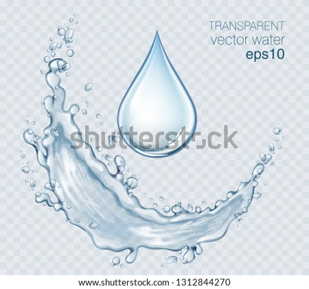 Transparent vector water splash and wave on light background #1312844270