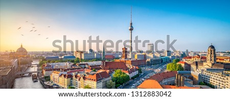 Aerial view of the skyline with television tower, Berlin, Germany #1312883042