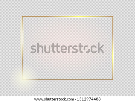 Gold shiny glowing vintage frame with shadows isolated on transparent background. Golden luxury realistic rectangle border. #1312974488