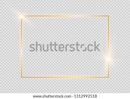 Gold shiny glowing vintage frame with shadows isolated on transparent background. Golden luxury realistic rectangle border. #1312992518