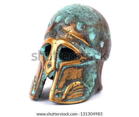 Bronze helmet isolated on white #131304983
