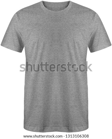 Blank plain slimfit t shirt front view heather grey color isolated on white background, ready for mock up template #1313106308