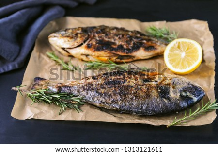 Grilled bream fish with herbs and spices on black background. #1313121611