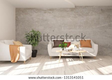 White stylish minimalist room with sofa. Scandinavian interior design. 3D illustration #1313141051