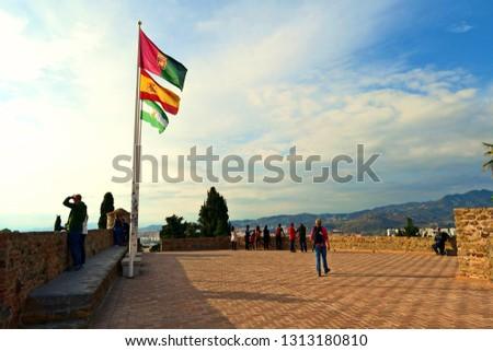 Spain, Malaga, December 2018 Gibralfaro castle in the city of Malaga in Andalusia #1313180810