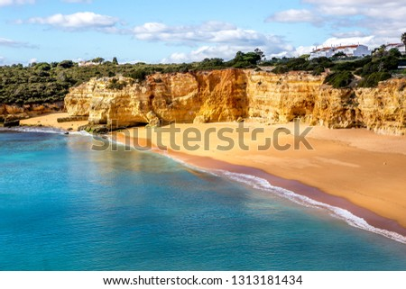 Beach and cliffs of Senhora da rocha, in Lagoa, Algarve, Portugal #1313181434