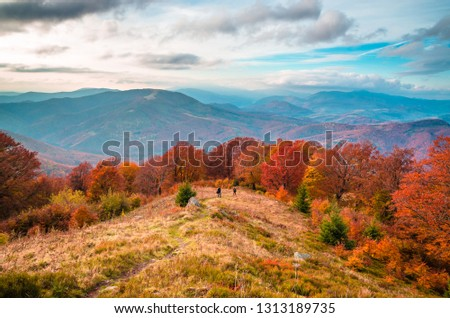 Autumn mountains in cloudly day #1313189735