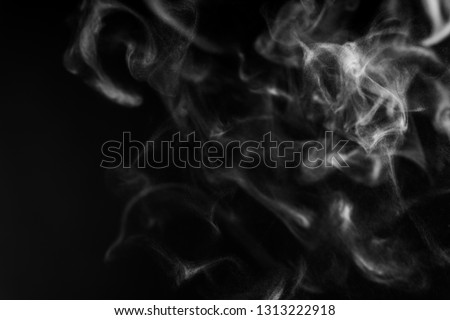Black background with white smoke mist overlay effect. Nature motion steam swirl wave  of pollution, cigarette, gas, dry ice with copy space for banner #1313222918
