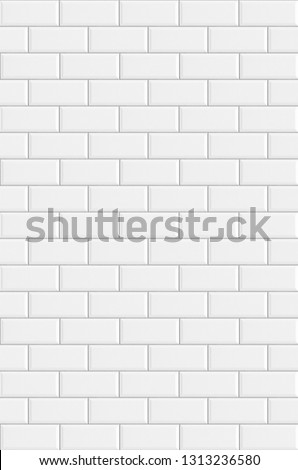 White rectangle mosaic tiles texture  background. Classic white metro tile. Vertical picture. #1313236580