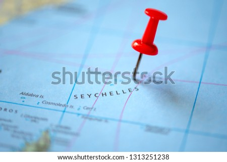 Push pin on the territory of Seychelles on the world map #1313251238
