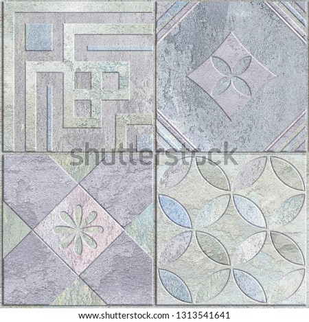 Digital tiles design. Abstract seamless patchwork pattern with geometric and floral ornaments, Vintage tiles intricate details for a decorative look.Ceramic paint floor, ornament Collection Patchwork #1313541641