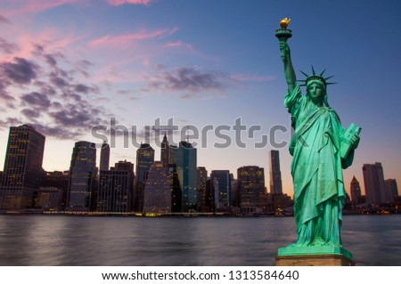 Statue of Liberty and New York skyline together  #1313584640