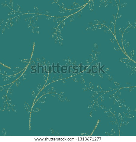 Floral seamless pattern with decorative branches. Vector illustration #1313671277
