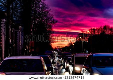 Red sky over Kalnciema bridge in Riga, Latvia #1313674715