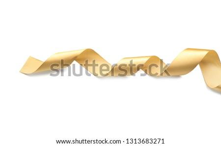Beautiful golden ribbon on white background #1313683271