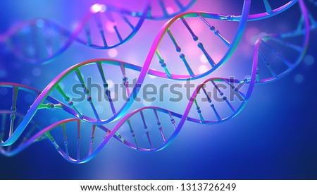 DNA. Study of gene structure of cell. Bright neon light. DNA molecule structure. 3D double helix illustration. Genetic engineering of the future #1313726249