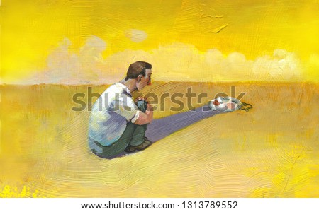 man sat in the desert observes the mask supported inside her own shade surreal acrylic illustration symbolic artwork
