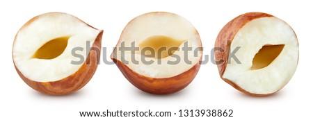 Hazelnut isolated on white background. Hazelnut Clipping Path Professional studio macro shooting #1313938862