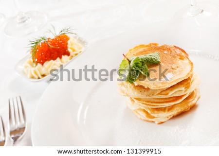 pancakes with caviar #131399915
