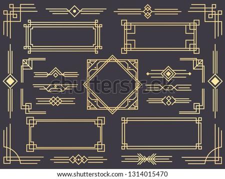 Art deco line border. Modern arabic gold frames, decorative lines borders and geometric golden label frame. Victorian vintage old antique elegant  design isolated icons elements set #1314015470