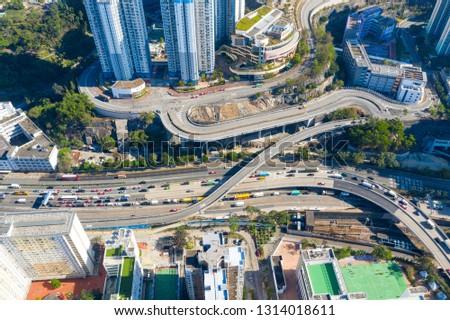Choi Hung, Hong Kong 29 January 2019- Top view of Hong Kong traffic #1314018611