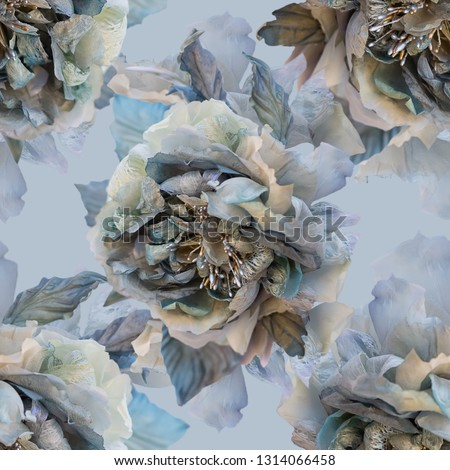 Beautiful seamless pattern with flowers of silk roses. Wallpaper seamless vintage flower pattern collage on gray background. Print for textile or fabric. Soft focus. Toned Image does not focus. #1314066458