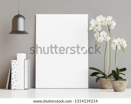 Mock up poster with flower decoration, hipster background, 3d render, 3d #1314139214