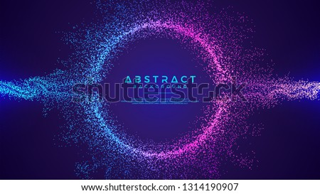 Dynamic abstract liquid flow particles background. Shining abstract particle flow background. Futuristic background with dots combination. Eps10 Vector background. #1314190907