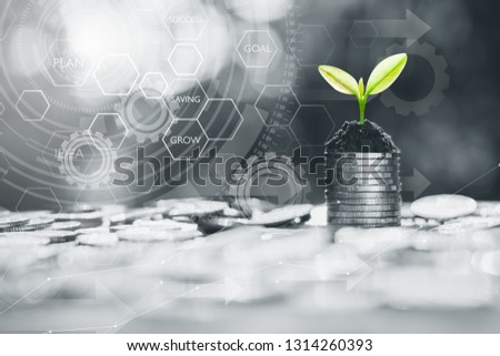 The coins are stacked together and the seedlings are growing on top of the icon technology about the financial growth around. #1314260393