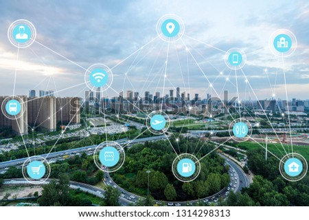 5G network wireless systems and internet of things with modern city skyline #1314298313