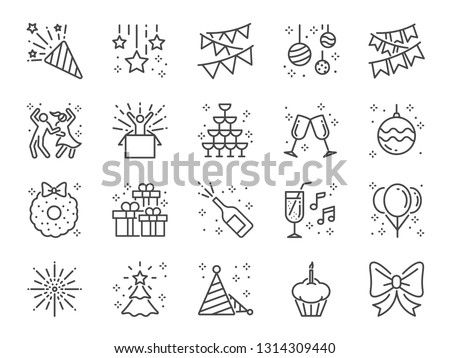 Party line icon set. Included icons as celebrate, celebration, dancing, music, congrats and more. Royalty-Free Stock Photo #1314309440