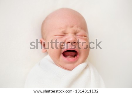 Newborn baby boy on a white background. Baby is crying #1314311132