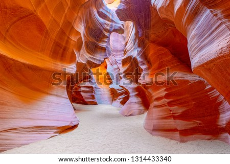 Antelope Canyon is a slot canyon in the American Southwest. It is on Navajo land east of Page, Arizona. USA.  #1314433340